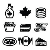 Canadian food icons - maple syrup, poutine, nanaimo bar, beaver tale, tourtière. Vector icons set - traditional meals and dishes from Canada royalty free illustration