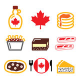 Canadian food icons - maple syrup, poutine, nanaimo bar, beaver tale, tourtiere. Vector icons set - traditional meals and dishes from Canada stock illustration
