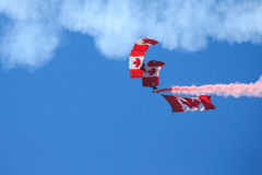 Canadian Forces Skyhawks Parachute Team. Bagotville, Canada- June 22, 2013: The Bagotville Airshow is a 2 days airshow where the Bagotville Airport opens to the Royalty Free Stock Photography