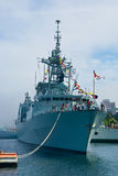 Canadian frigate. HMCS Montreal docked in Halifax harbour royalty free stock photography