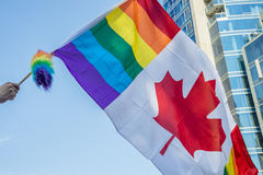 Canadian gay rainbow flag Stock Photography
