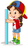 Canadian girl with measuring ruler Stock Photography
