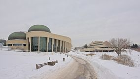 Canadian history museum on a cold winter day with snow. Modern architecture of the Canadian history museum on a cold winter day with snow in Gatineau, Quebec stock images