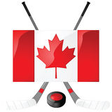 Canadian hockey. Illustration of hockey sticks, puck and a Canadian flag Royalty Free Stock Photos