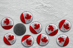 Canadian hockey pucks Royalty Free Stock Photos