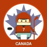 Canadian in Hockey Uniform Vector Illustration Stock Images