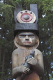 Canadian Indian Artwork. A wooden carving created by a First Nation's carver from the Musqueam tribe Stock Photo