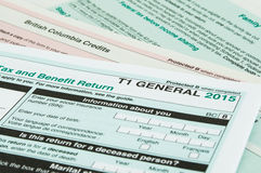 Canadian individual tax form. T1 for year 2015 stock photography