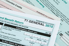 Canadian individual tax form. T1 for year 2015 royalty free stock images