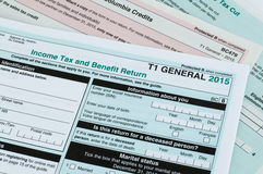 Canadian individual tax form. T1 for year 2015 royalty free stock photo