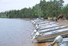 Canadian lake fishing lodge boats Royalty Free Stock Image