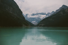 Canadian lake with mountains and glacier behind Stock Image