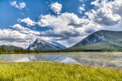 Canadian Landmark: Vermilion Lakes in the Summer Royalty Free Stock Images