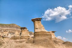 Canadian Landscape: Hoodoos in Drumheller, Alberta Royalty Free Stock Photography
