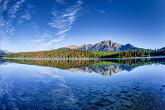 Canadian Landscape: Patricia Lake at Jasper National Park. Colorful trees lined the shores of Patricia Lake at Jasper National Park with Pyramid Mountain in the royalty free stock photo