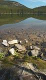 Canadian landscape in Pyraimd lake. Jasper. Alberta Royalty Free Stock Image