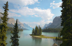 Canadian landscape with Spirit island. Jasper. Alberta Royalty Free Stock Image
