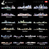 Canadian largest cities and all states capitals skylines in bright color palettes with map and flag of Canada Royalty Free Stock Image
