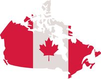 Canadian map with canada flag royalty free illustration