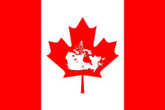 Canadian Map With Flag On It 3D Rendering Royalty Free Stock Images