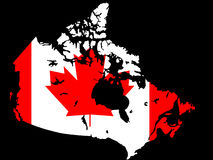 Canadian map and flag illustration Stock Photography