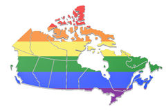 Canadian map with LGBT flag, 3D Stock Photo