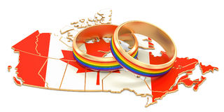 Canadian map with LGBT rainbow rings, 3D rendering. Canadian map with LGBT rainbow rings, 3D Stock Photo