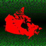Canadian map over binary code Royalty Free Stock Photo
