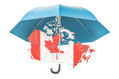 Canadian map under umbrella. Security and protect or insurance c Royalty Free Stock Photography