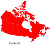 Canadian Map on white background Stock Images