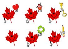 Canadian Maple Leaf Cartoons. An illustration featuring your choice of 6 red Canadian maple leaf icons holding various items - heart, house, key, recycling Royalty Free Stock Photo