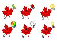 Canadian Maple Leaf Cartoons. An illustration featuring your choice of 6 red Canadian maple leaf icons holding various items - money, apple (health theme), cd Royalty Free Stock Photos