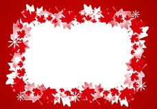 Canadian Maple Leaf Christmas Border Frame. A background illustration featuring a frame or border of Canadian maple leaves in red and white with a touch of Royalty Free Stock Images