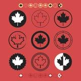 Canadian Maple Leaf silhouette flag symbol icons set Stock Photo