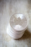 Canadian Maple Leaf Silver Coin stack Stock Image