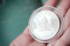 Canadian Maple Leaf Silver Coin stack Royalty Free Stock Image