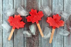 Canadian maple leaf watermelon pops on rustic wood. Canadian maple leaf watermelon pops with ice cubes on a rustic aged wood background Stock Photography