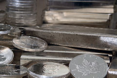 Canadian Maple Silver Coin Stock Photo
