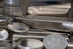 Canadian Maple Silver Coin. Canadian Maple Leaf Silver Bullion One Ounce Coin Stock Photo