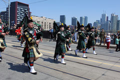 Canadian Marching Band. TORONTO, CANADA - APRIL 27: Marching band in the military parade in Toronto that marks the 200th anniversary of the Battle of York, which Royalty Free Stock Image