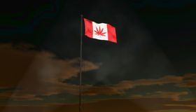 Canadian marijuana leaf flag. Canada on the verge of legalizing marijuana with smoke visible in the searchlight beams Royalty Free Stock Photo