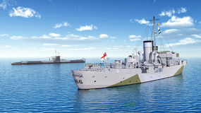 Canadian military ship and German submarine of World War II Stock Photography