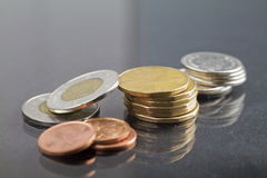 Canadian money. Pile of canadian money on textured background stock photography