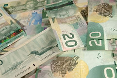 Canadian Money. Pile of Canadian money bills Royalty Free Stock Photo