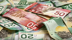 Canadian money. Background made of layed down canadian money Stock Photography