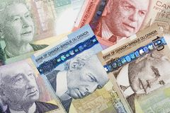 Canadian money, a background. Canadian money, a business background stock photos