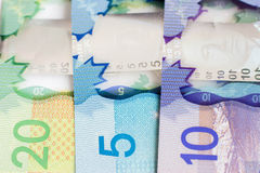 Canadian money. In bills placed side by side Royalty Free Stock Photography