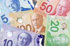 Canadian money, a background. Canadian money, a business background royalty free stock photography