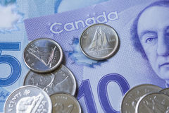 Canadian Money. New bills and coins Stock Photos