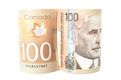 Canadian money, paper and polymer versions Royalty Free Stock Image